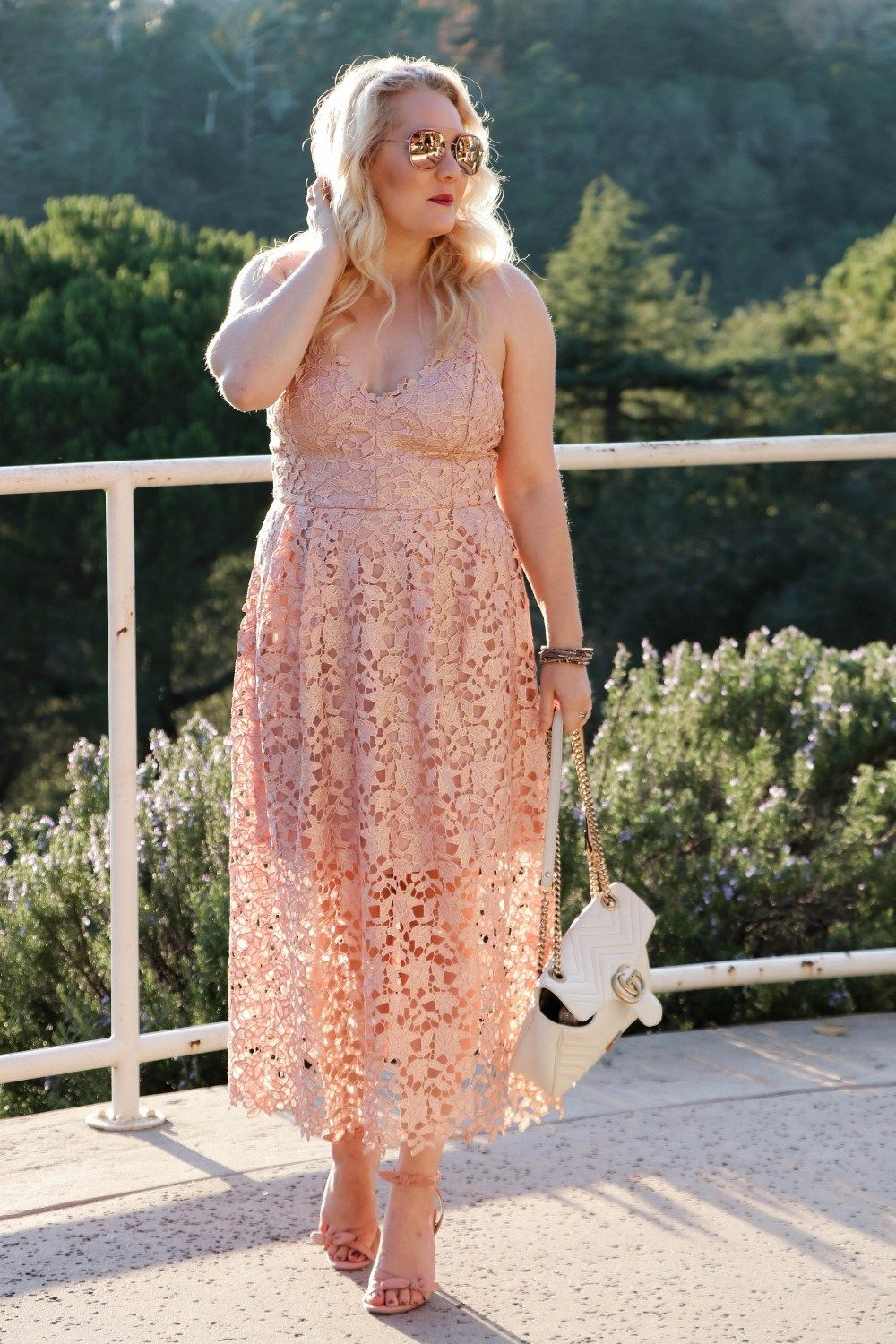 8f2429d4630 ASTR the Label Lace Midi Rose Gold Lace Dress for New Years Eve