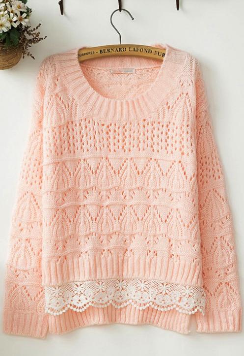 Sweet lace pink sweater   dayana   Pinterest   Encaje, Tejido y Suéteres