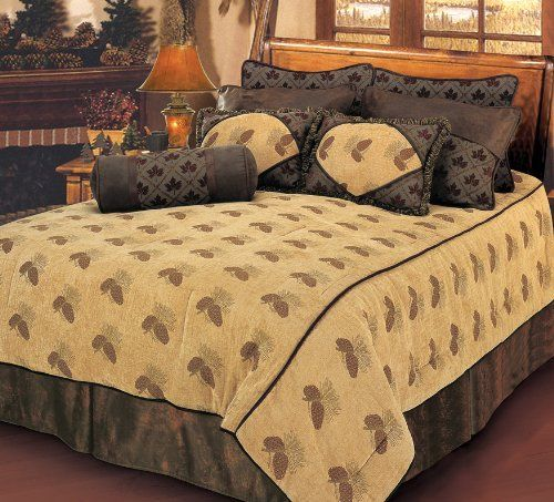 "HiEnd Accents Pine Cone Bedding, King by HiEnd Accents. $359.00. Luxury pine cone chenille bedding with maple leaf shams, faux leather skirt, and matching accessory pillows. 7 pc luxury chenille bedding, 110""x96"" comforter, 21""x34""+3"" pillow sham(2pcs), 16""x21"" pillow (2pcs), 8""x21"" pillow, 78""x80""+18"" dust ruffle. Complete bed-in-bag, dry clean. Pine Cone Bedding in Super King Size. Luxury pine cone chenille bedding with maple leaf shams, faux leather skirt, and matching acc..."