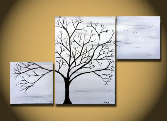 Black And White Painting Large Tree Wall Art Birds Home Decor
