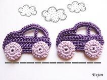 ♥ Zwei lila Autos - Häkelapplikation ♥