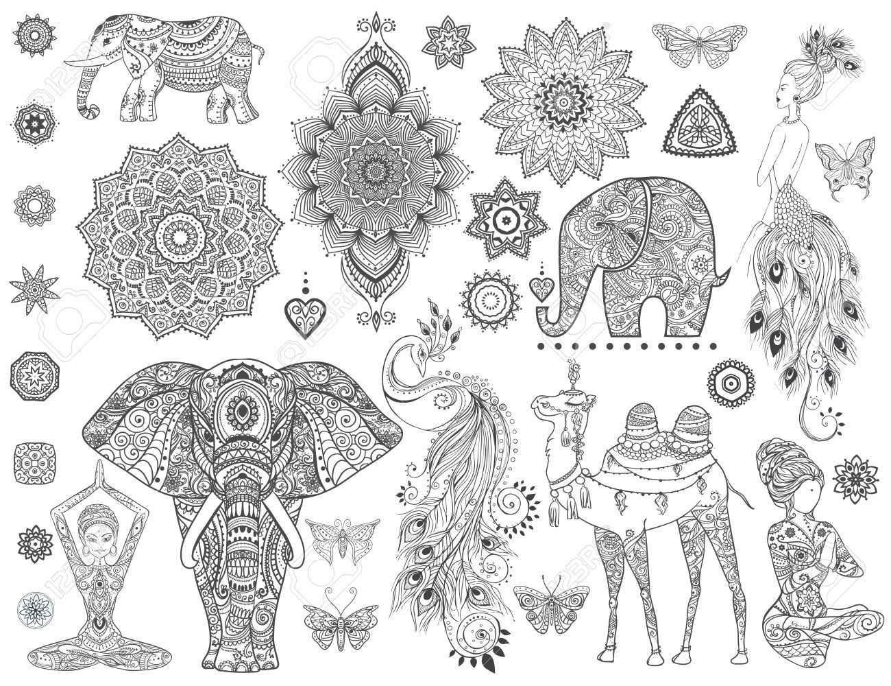 tier mandala tattoo  ausmalbilder