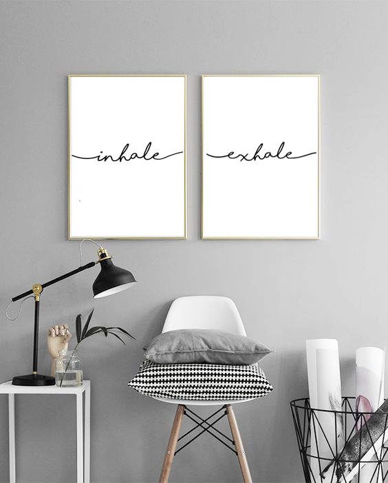 Inhale Exhale Wall Print Yoga Art Typography Prints Pilates Relaxation Gifts Breathe Minimal