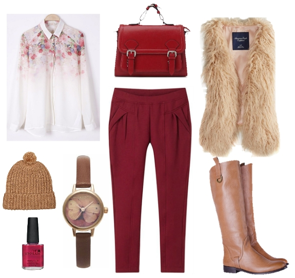 winter look, fashion, red