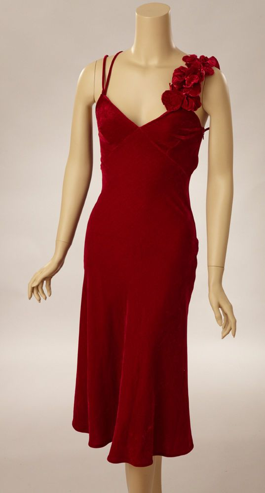 2000s Jean Paul Gaultier Red Velvet Bias Cut Dress #JeanPaulGaultier #StretchBodycon #Cocktail