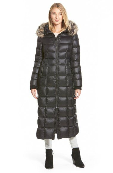What an awesome long down coat, want want want - BCBGeneration Faux Fur Trim Hooded Down Maxi Coat available at #Nordstrom