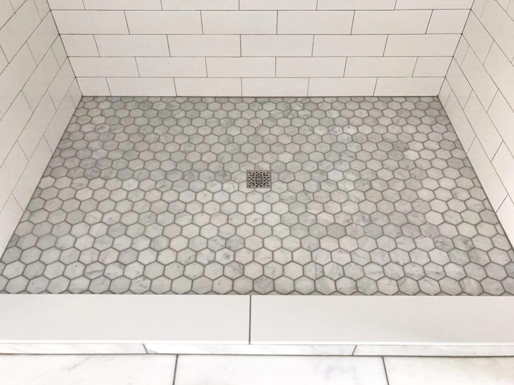 Marble Hexagon Tile For Walk In Shower In Master Bathroom