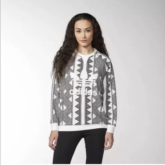 Adidas Originals Mexkrumex Farm Crewneck Shirt M NWT. HTF geometric tribal print  sweatshirt. Color is off white. Adidas Tops Sweatshirts   Hoodies 0fbd9b4767
