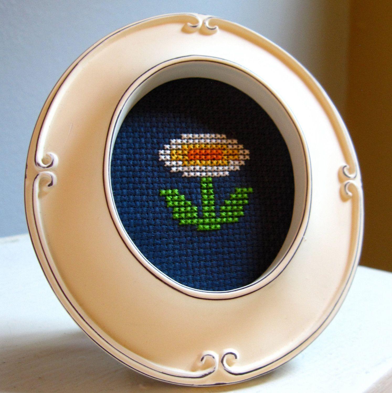 Fire Flower - Framed Cross Stich. $18.00, via Etsy.