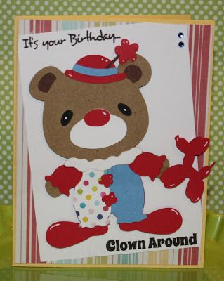 Scrappy Mel - Cricut's Teddy Bear Parade cartridge and Scrappy Moms Stamps Life's a Circus stamp set.