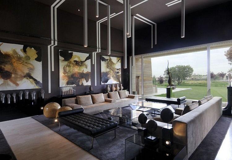 Gut Wohnzimmer Gestalten   Dunkle Wand In Anthrazitgrau