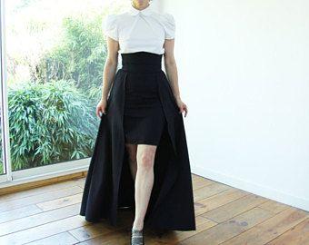 Ensemble 3 pièces avec jupe + pantalon + chemisier blanc-maxi sur jupe, jupe longue, jupe avec poches, jupe taille haute, jupe asymetrique