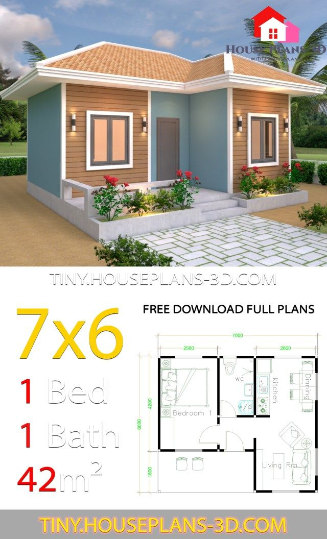 Tiny House Plans 7x6 With One Bedroom Hip Roof Tiny House Plans Tiny House Plans Vacation House Plans Tiny House Design