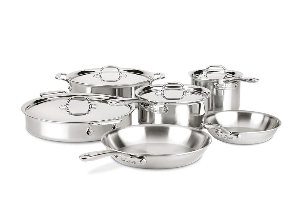 All Clad St40010 Compact Stainless Steel Dishwasher Safe Cookware Set Pie Cookware Set Stainless Steel Safest Cookware Dishwasher Safe Cookware