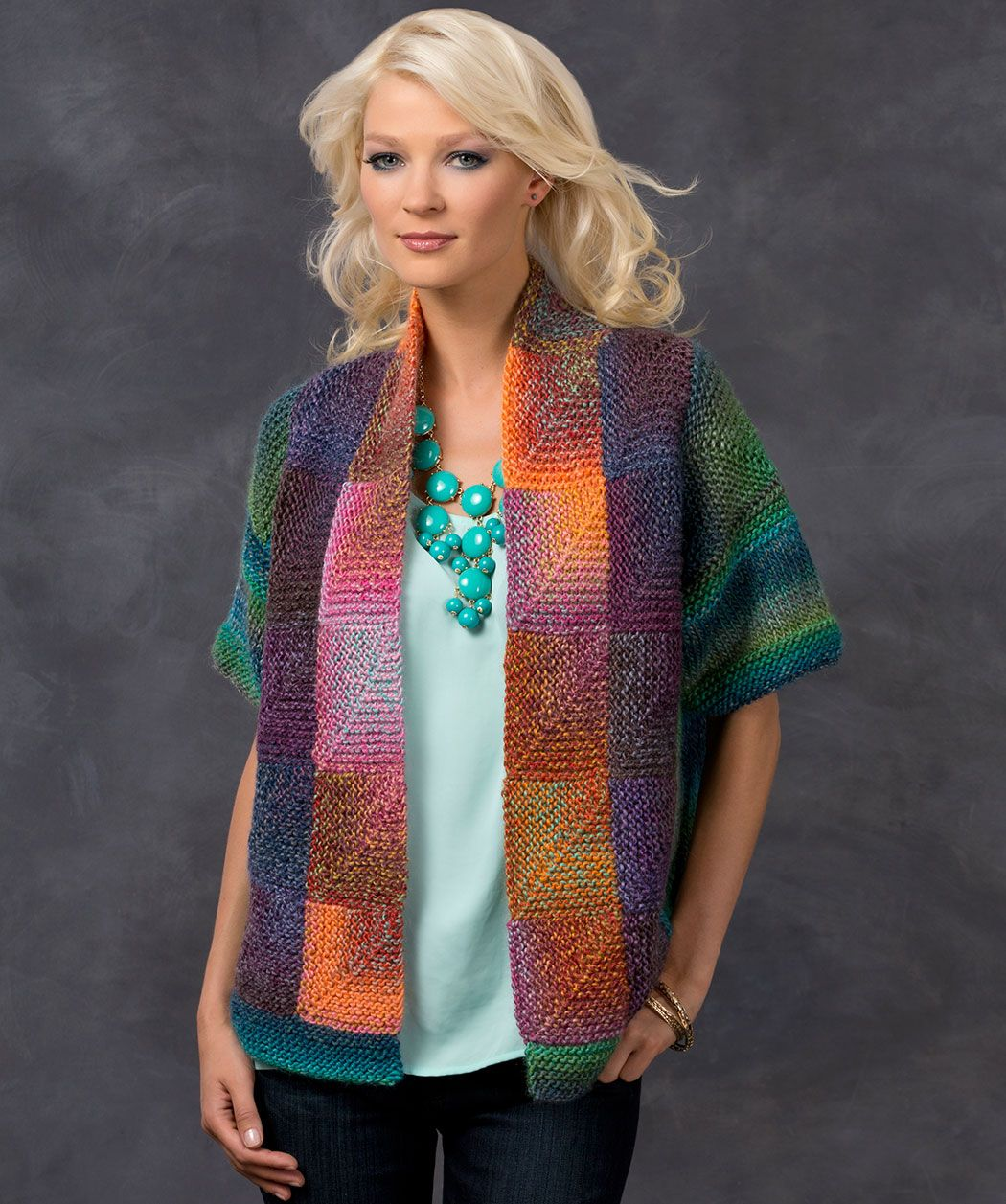 Mitered square jacket knitting pattern knit redheartyarns free knitting pattern for mitered square jacket julie farmers colorful cardigan is designed for multi color yarn bankloansurffo Image collections