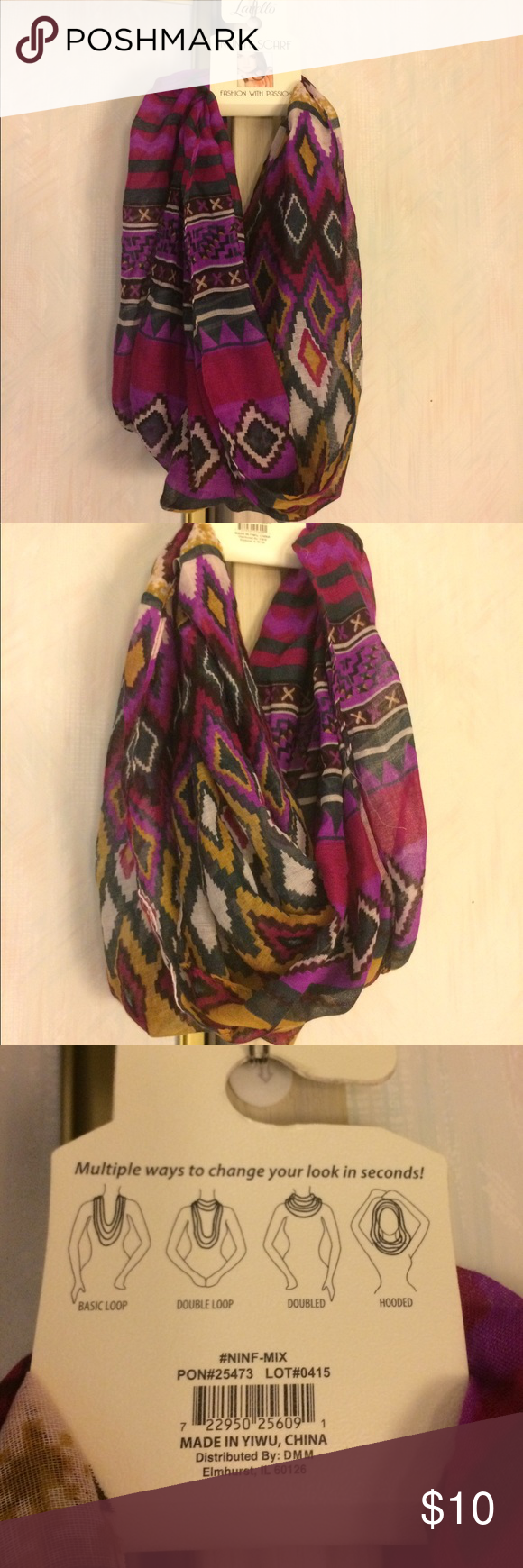 Lavello Infinity Scarf / Hijab Brand new and never worn. The only flaw I see is a loose string as you can see in the second picture. It can be worn a few different ways (see last picture for example)  I can't say for sure how long it is.  It is also see through. Lavello Accessories Scarves & Wraps