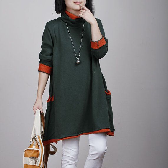 Dark green cotton sweater knitwear knitted sweater Turtleneck loose sweater tops long women sweater dress plus size sweater cotton blouse