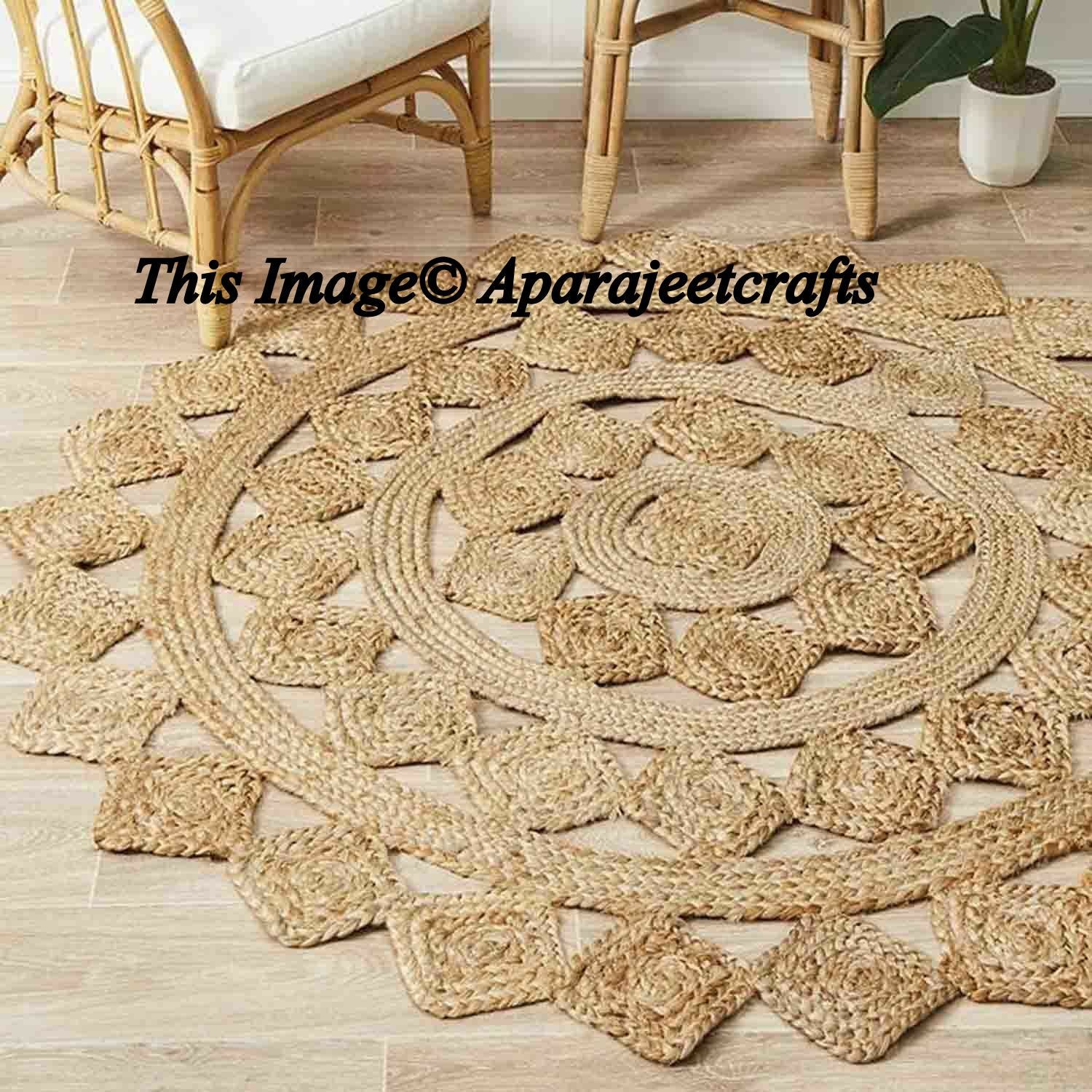 Braided Rag Rug Round Floor Indian Rug Handmade Jute Rug Natural