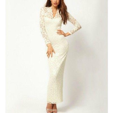 White lace overlay maxi dress