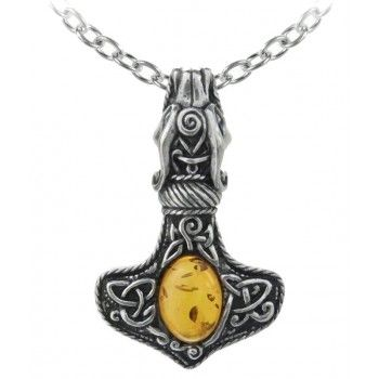 Amber Dragon Thorhammer Pewter Pendant   New At GothicPlus.com Price:  $52.00 A Classic Ornate And Highly Intricate Amulet Of Power And Protection  Fit For A ...