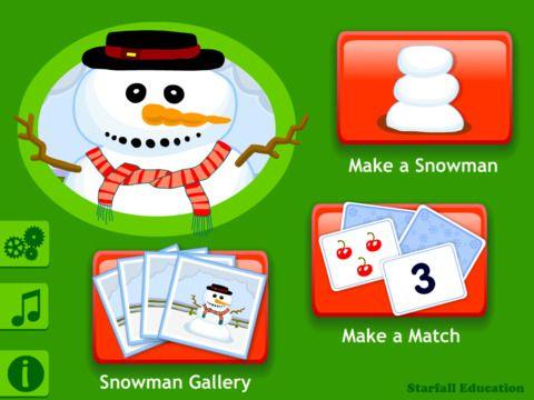 Starfall Snowman by Starfall Education Make a snowman