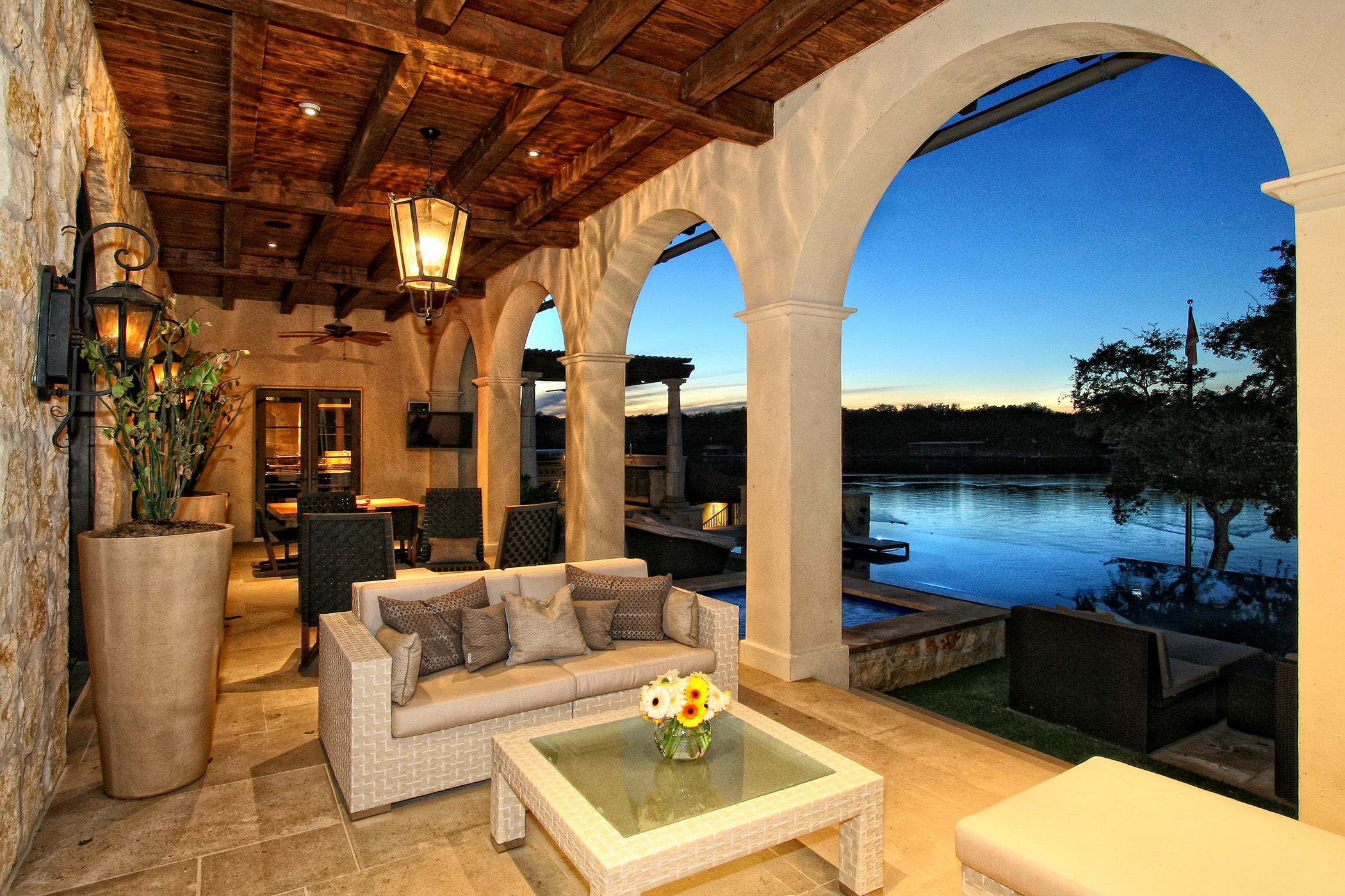 Horseshoe bay eclectic spanish lake house outdoor living for Luxury outdoor living