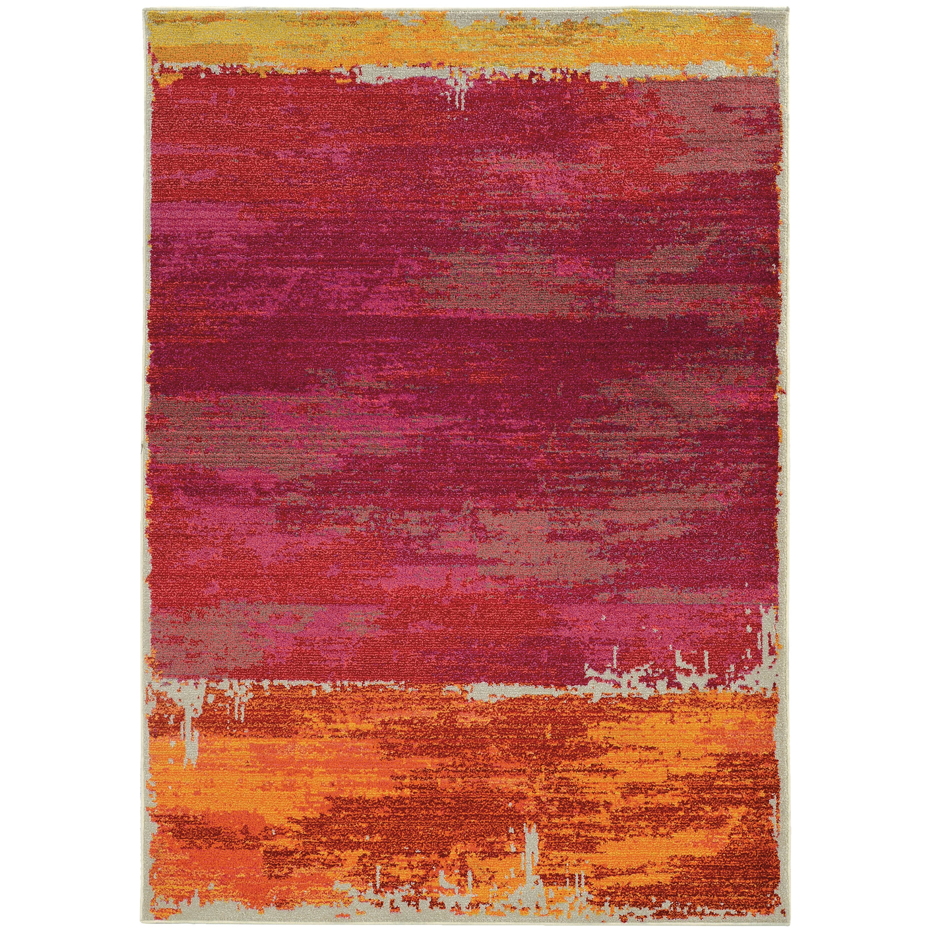 Aura Faded Abstract Orange Pink Area Rug 4 X 5 9 4 X 5 9