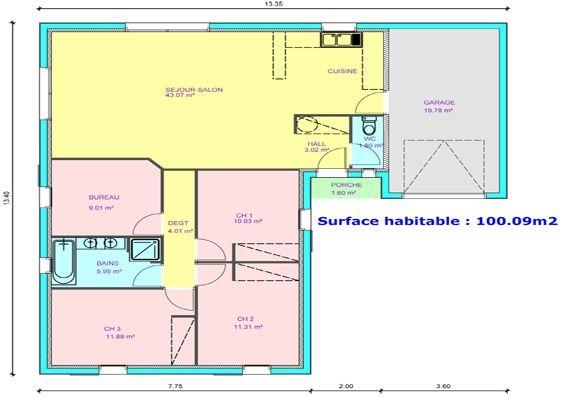 maison plain pied 3 chambres, bureau | plan maison | pinterest