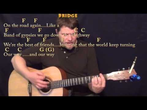 On the Road Again (Willie Nelson) Strum Guitar Cover Lesson in C ...