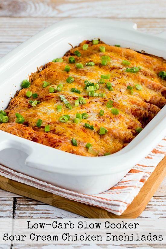 Low-Carb Slow Cooker Sour Cream Chicken Enchiladas | Kalyn's Kitchen | Bloglovin'