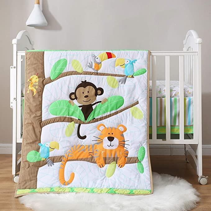 Amazon Com Spring Baby Crib Bedding Set 3 Piece 100 Soft Organic Natural Cotton Portable Standard Crib B Cotton Baby Bedding Baby Bed Baby Nursery Bedding 3 piece crib bedding set