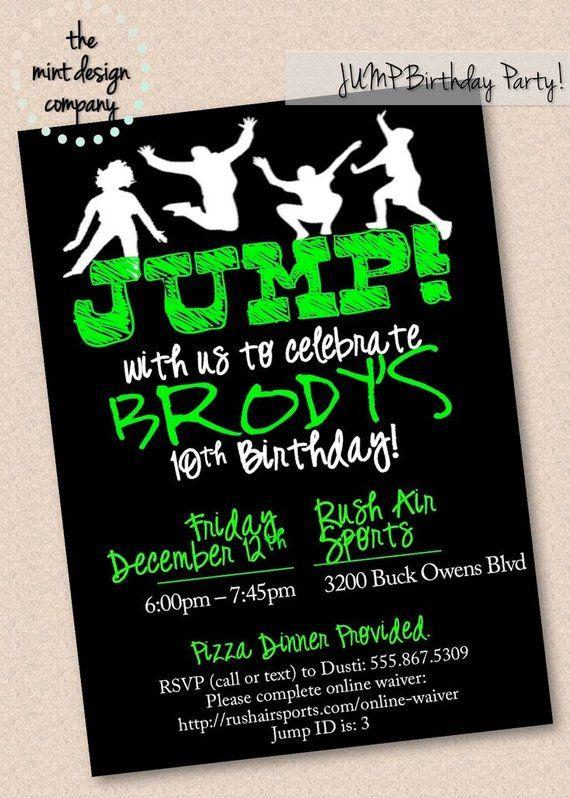 JUMP Trampoline Park Birthday Party Invitation Digital Design