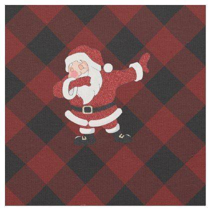 Buffalo Plaid Rustic Christmas Tree Dark Red Black Fabric