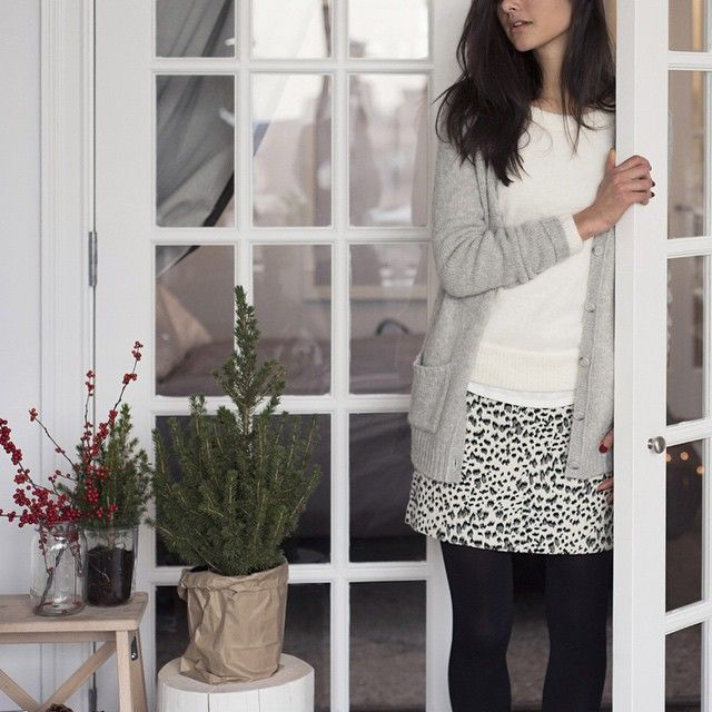 The Snow Leopard Shift Skirt is our holiday party go-to. #loveloft  Outfit Details: Grandpa Cardigan, Honeycomb Sweater, Snow Leopard Shift Skirt, Opaque Tights