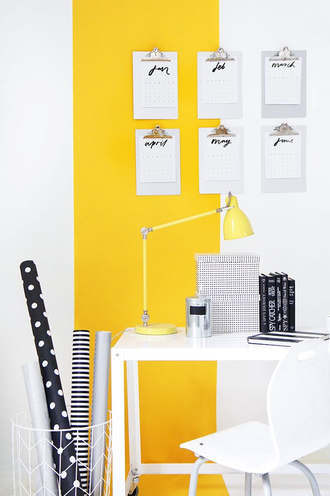 MY WORKSPACE | Yellow Stripe Wall | Craft room ideas | Pinterest ...