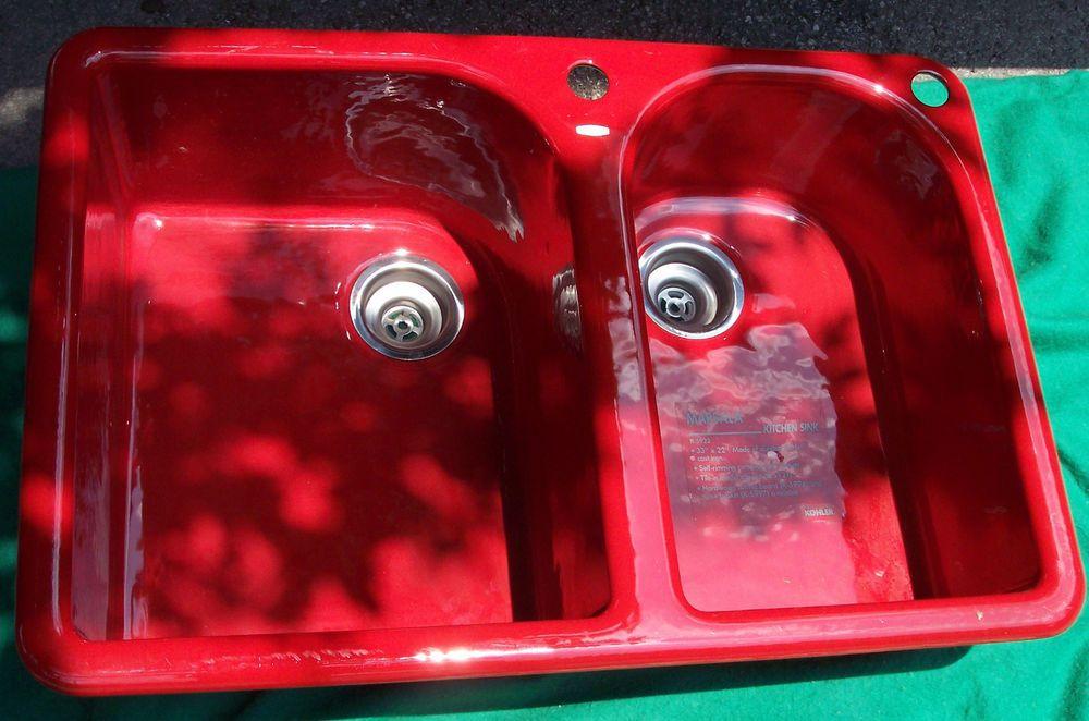 Kohler Marsala cast iron red enamel kitchen sink 2 hole 33x22 unused columbus oh #Kohler