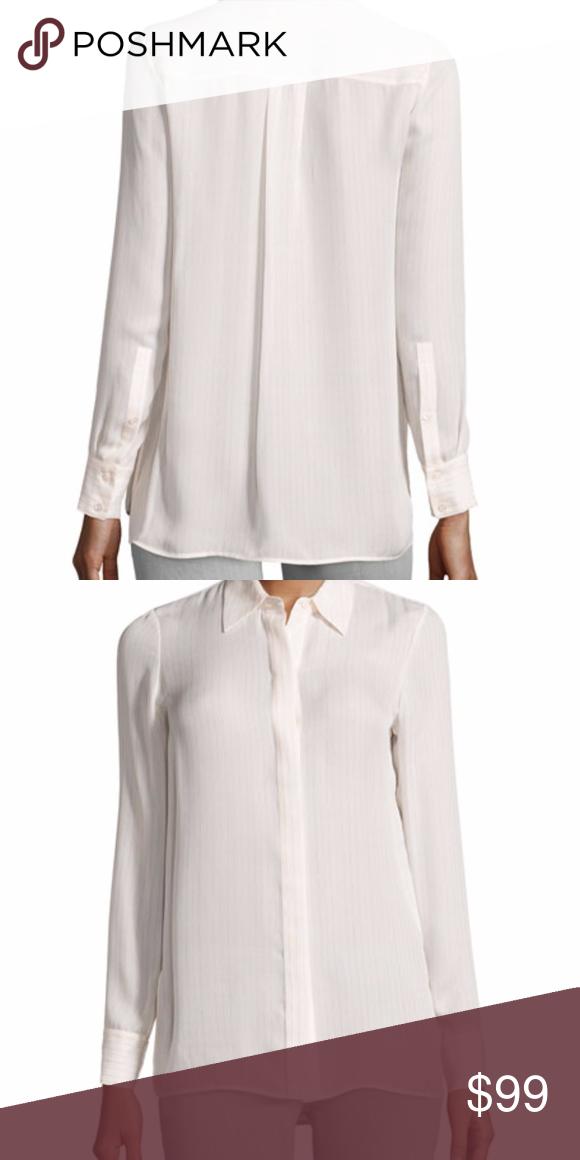 e2479cea991500 NWT Vince Striped Long-Sleeve Silk Blouse IVR ROSE Striped Long-Sleeve 100