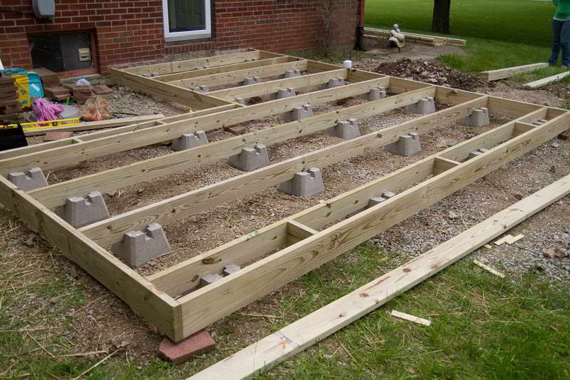 Frame foundation with block deck this is what we would Floating deck cinder blocks