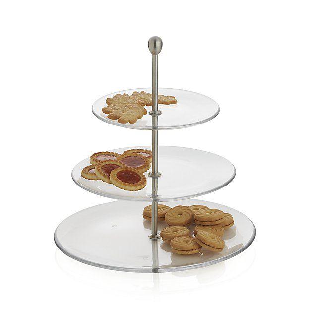 Three Tier Glass Server Cakes Tarts Cupcakes Crate Barrel Glass Dessert Shots