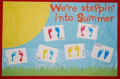 Preschool End Of Year Bulletin Boards Stepping Into Summer Preschool Bulletin Board Summer Bulletin Boards Preschool Bulletin Toddler Bulletin Boards
