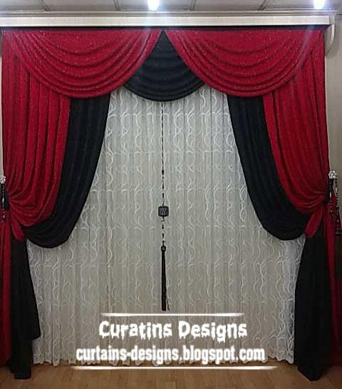Attractive Luxury Turkish Drape Curtain Design Made Of Three Fabric Colors Red, Black  And White   Itu0027s Stylish Turkish Curtain Model You Can Suspending It In  Bedroom ...