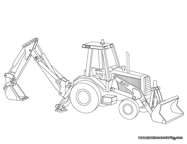 Coloring pages of trucks or backhoes ~ Awesome Caterpillar backhoe loader coloring page ready to ...