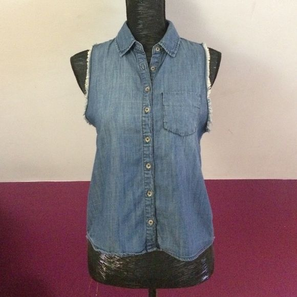 BDG Chambray sleeveless high-low button down Great summer chambray button down from Urban Outfitters brand BDG. The armholes are frayed and the back is long with a slit that opens. There are two little spots on the back, but not really noticeable. BDG Tops Button Down Shirts