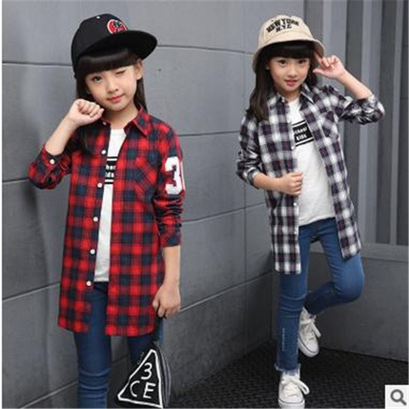 >> Click to Buy << 2017 New Pattern Autumn Children's Garment Children Pure cotton Loose Girl Sleeve Lattice Jacket Fashion Shirt  #Affiliate