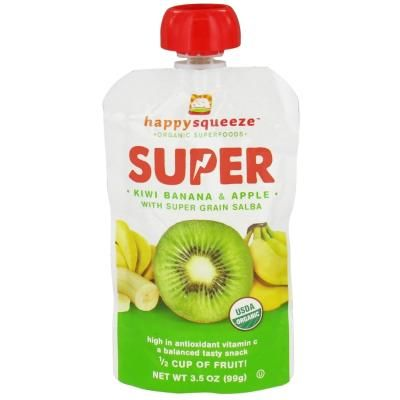 Happy Family - Happy Squeeze Organic SuperFoods Super Kiwi Banana & Apple - 3.5 oz. DAILY DEAL