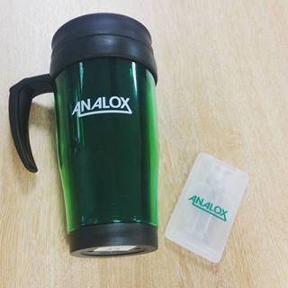 Analox travel mugs and hand sanitiser