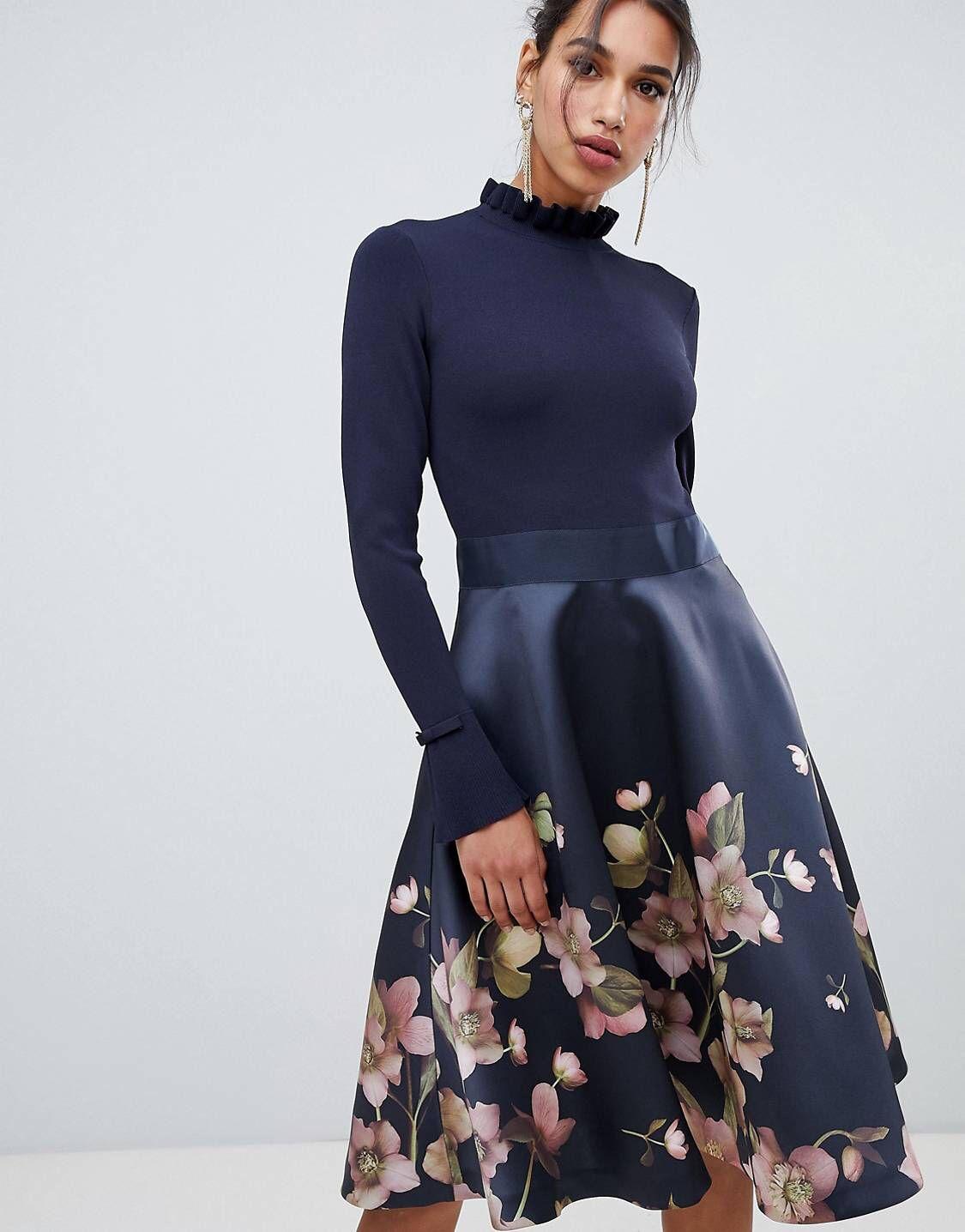 Ted Baker – Seema Arboretum – Kleid mit Strickoberteil  ASOS