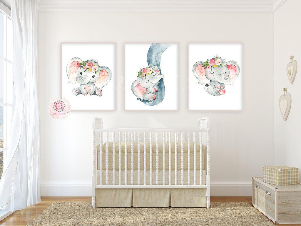 3 Boho Elephant Wall Art Print Baby Girl Nursery Whimsical