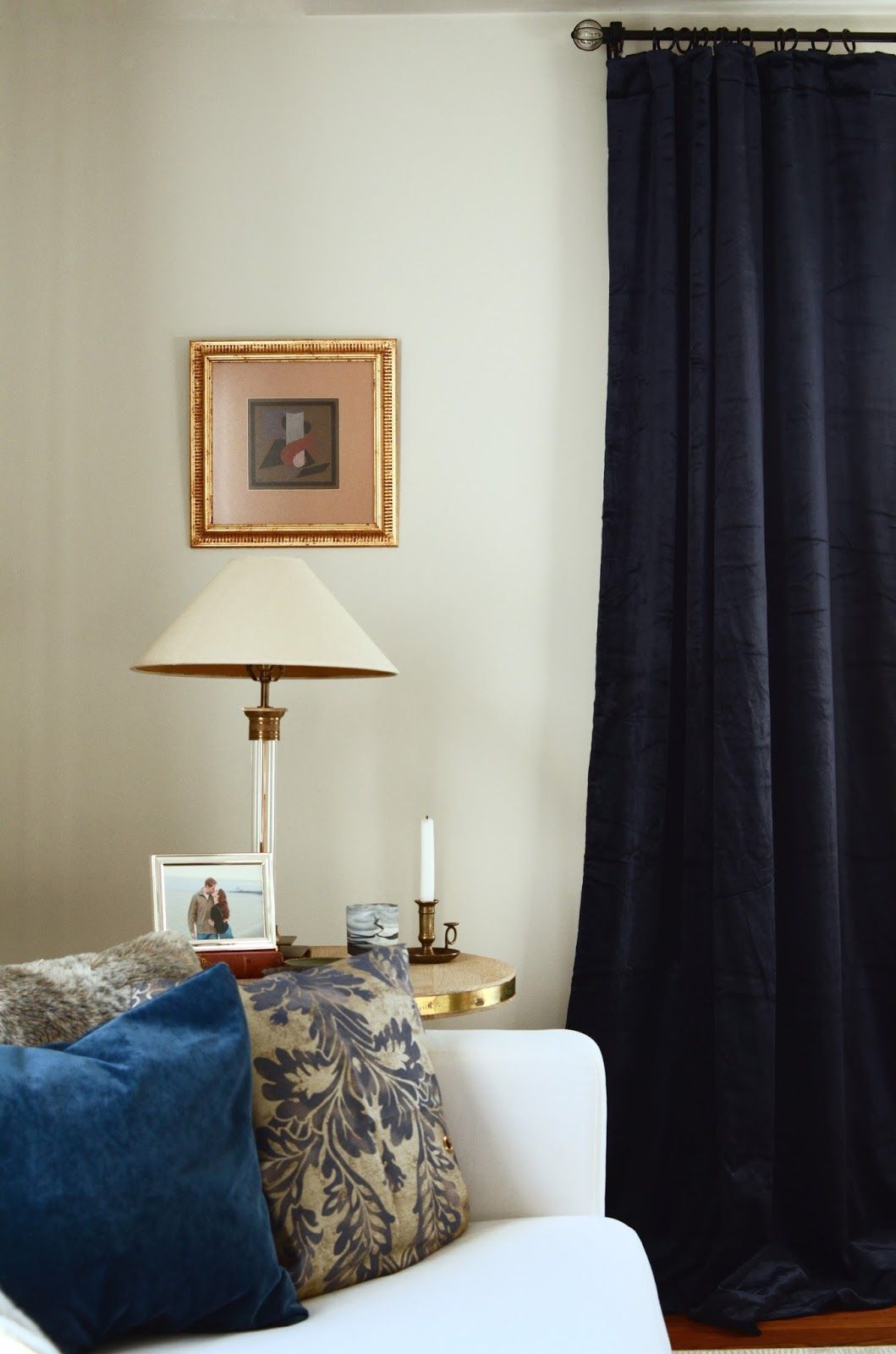Petrol Navy Blue Velvet Curtains In A Modern Traditional European Living Room