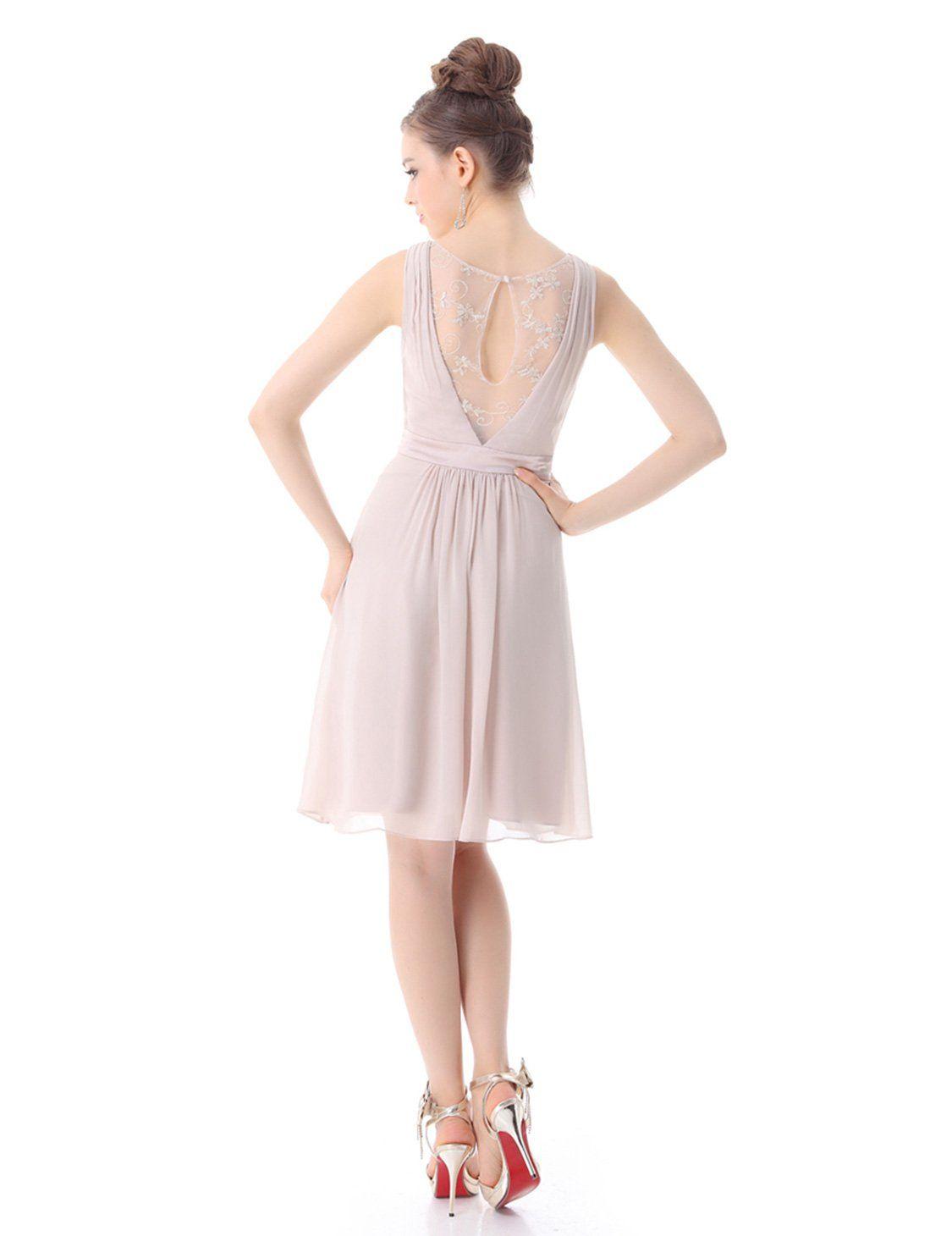 Alisa Pan Womens Short Vneck Wedding Guest Dress 10 Us Khaki Want